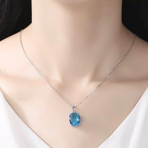 Jewelry - NEW Oval Blue Topaz Sterling Silver Necklace